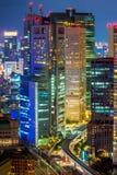 Tokio miasto przy nocy vertical Fotografia Royalty Free