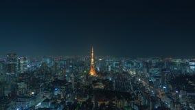 Tokio noc i Tokio wierza pejzażu miejskiego timelapse zbiory