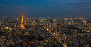 Tokio nocy scena, panoramiczny widok Fotografia Stock