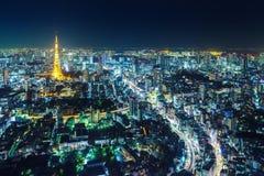 Tokio pejzaż miejski przy nocą Zdjęcie Royalty Free