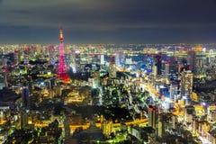 Tokio pejzażu miejskiego sceny nighttime od niebo widoku Roppongi H Obraz Stock