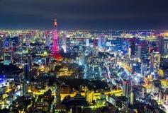 Tokio pejzażu miejskiego sceny nighttime od niebo widoku Roppongi H Zdjęcia Royalty Free