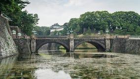Tokio Seimon Ishibashi i pałac Cesarskiego kamienia most główna brama, Japonia obrazy stock
