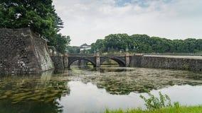 Tokio Seimon Ishibashi i pałac Cesarskiego kamienia most główna brama, Japonia fotografia stock
