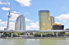 Tokio Skytree, edificio de Sumida Ward Office y Asahi Beer Hall fotos de archivo libres de regalías