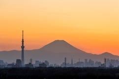 Tokio Skytree Fuji i góra Obraz Royalty Free