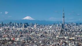 Tokio Skytree y Mt Fuji fotos de archivo