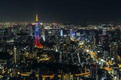 Tokio wierza przy nocą w Tokio Fotografia Royalty Free