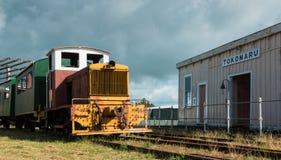 Tokomaru Railway Station with a small diesel engine. Royalty Free Stock Photos