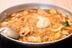 Tokpokki - traditional Korean food, hot pot style. Stock Photos