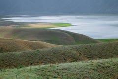 Toktogul  highland mountain lake in Kyrgyzstan Stock Image