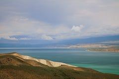 Toktogul  highland mountain lake in Kyrgyzstan Stock Images