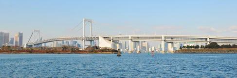 Tokyo. Skyline with the Rainbow Bridge, a suspension bridge crossing northern  Bay between Shibaura Pier and Odaiba Stock Photography