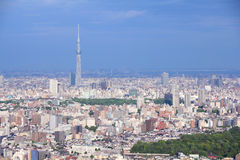 Tokyo. Japan - aerial view towards Asakusa district with famous  Sky Tree (tallest free standing structure in Japan and 2nd tallest in the world as of 2012 Royalty Free Stock Photography