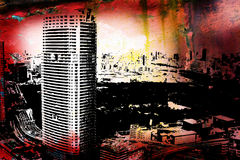 Tokyo. Grunge style background with Tokyo city view stock illustration