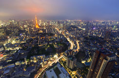 Tokyo from above with Tokyo Tower in the background at night Royalty Free Stock Photo