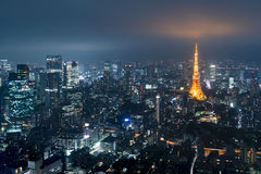 Tokyo from above with Tokyo Tower in the background Stock Images