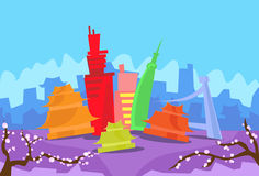 Tokyo Abstract Skyline City Skyscraper Silhouette Royalty Free Stock Photos