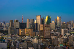 Tokyo aerial panoramic view at sunrise Royalty Free Stock Photos