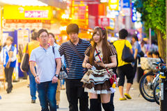 Tokyo Akihabara French Maid Outfit Cafe Customers Stock Photo