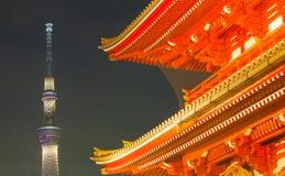 Tokyo Asakusa temple and Tokyo sky tree Stock Image