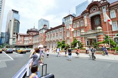 TOKYO - AUGUST 02: People who visit Tokyo train station in August 02 2013, one of the Largest in Tokyo Royalty Free Stock Image