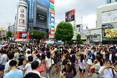 TOKYO - AUGUST 03: Shibuya in August 03 2013 - crowds of people crossing the center of Shibuya Stock Photos