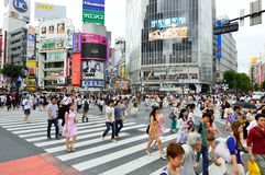 TOKYO - AUGUST 03: Shibuya in August 03 2013 - crowds of people crossing the center of Shibuya Stock Photography