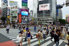 TOKYO - AUGUST 03: Shibuya in August 03 2013 - crowds of people crossing the center of Shibuya Stock Photo