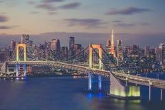 Tokyo bay city and Tokyo rainbow bridge Royalty Free Stock Image