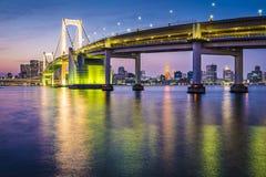 Tokyo Bay Cityscape. Tokyo, Japan at Tokyo Bay and Rainbow Bridge Royalty Free Stock Photos