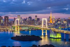 Tokyo Bay, Japan. Skyline with the bridge and tower at twilight Royalty Free Stock Images