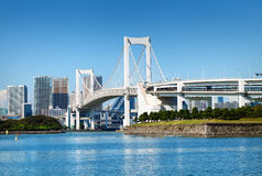 Tokyo bay and Odaiba area. Panoramic view of Tokyo bay with sky scrapers and Rainbow bridge Royalty Free Stock Photos