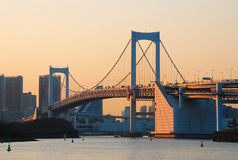 Tokyo Bay with Rainbow Bridge Stock Photo