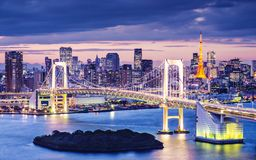 Tokyo Bay. At Rainbow Bridge stock photo