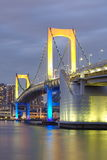 Tokyo bay and rainbow bridge. View of Tokyo bay and rainbow bridge at twilight Stock Images