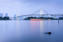 Tokyo Bay and Rainbow Bridge in the evening Royalty Free Stock Photo