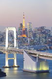 Tokyo Bay at Rainbow Bridge and tokyo tower Royalty Free Stock Photo