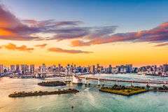 Tokyo Bay Skyline. Tokyo, Japan skyline on the bay with Rainbow Bridge Royalty Free Stock Images