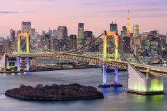 Tokyo Bay Skyline. Tokyo, Japan skyline with Rainbow Bridge and Tokyo Tower Royalty Free Stock Images