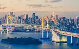 Tokyo bay and Tokyo rainbow bridge Royalty Free Stock Photo