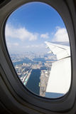 Tokyo Bay Viewed through a Plane Window Stock Image