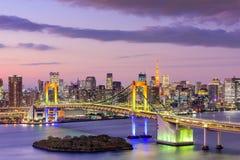 Tokyo BaySkyline. Tokyo, Japan skyline with Rainbow Bridge and Tokyo Tower Stock Photography