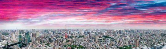 Tokyo bij zonsondergang Mooie luchtmening in hoge resolutie Stock Foto's