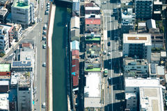 Tokyo bird eye view cityscape shot from Tokyo Skytree Observatio Royalty Free Stock Images