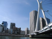 Tokyo bridge. View of bridge and buildings from the water in Tokyo, Japan royalty free stock image