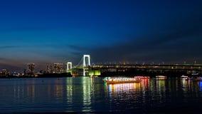 Tokyo-Bucht nachts stockfotos