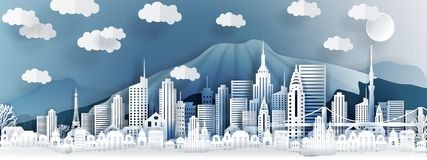 Tokyo city concept, Japan. Paper art city on back with buildings, towers, bridge, clouds. stock illustration