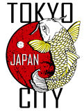 Tokyo City and Gold Fish Poster Design. Style royalty free illustration