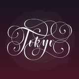 Tokyo City hand written lettering. Modern brush calligraphy. Tee print apparel fashion design. Hand crafted wall decor Stock Image